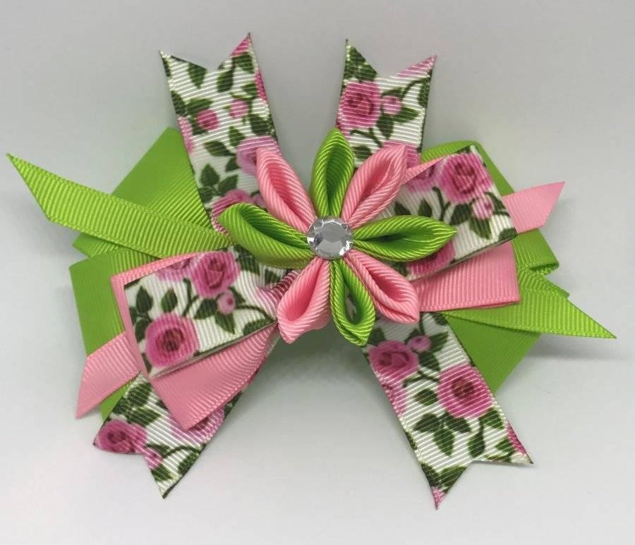 "Pink Green Turquoise Birds Kanzashi Flower Jeweled Layered Hair Bow 4 1//2/"""