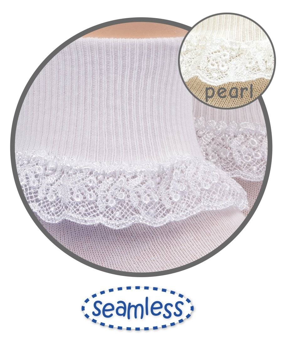 XSmall Small Toddler Jefferies Chantilly Lace White or Pearl Socks  Infant