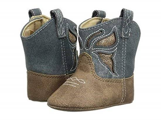 Baby Deer Denim Brown Distressed Western Boot with Butterfly Baby Size 0 1 2 3