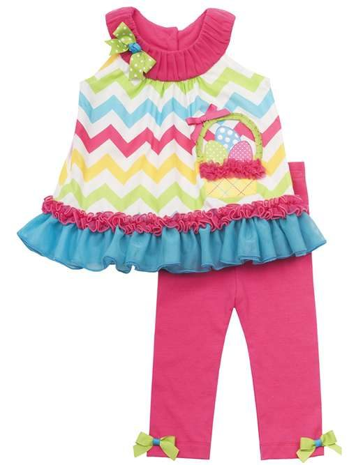 NEW-Rare-Editions-Fuchsia-Turquoise-Easter-Basket-Legging-Set-3T-4T