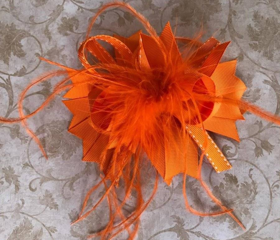 Orange and White Feather Hair Bow 5/""