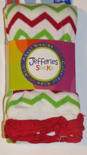 2-4Y 4-6Y 18-24M Jefferies Chevron Ruffle Footless Tights  6-18M