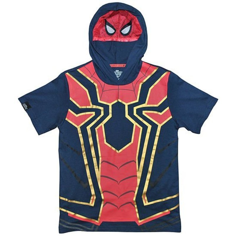 NWT Boys Marvel Avengers Button Front /& Hoodie Shirt Upick