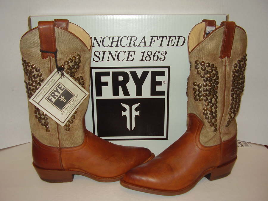 0a4708f8881 Details about NEW FRYE BILLY HAMMERED STUD LEATHER/CANVAS COGNAC PULL-ON  COWBOY BOOTS SZ 8.5M