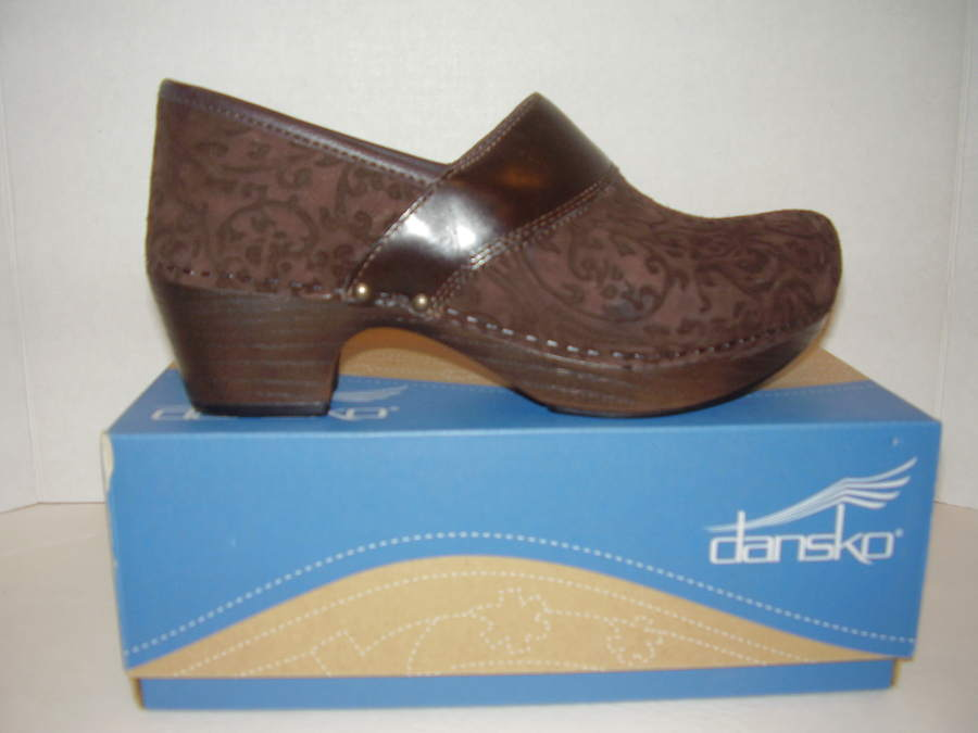 Dansko Clogs Womens 9.5-10 Suede Floral Teal Comfort Shoes Clothing, Shoes & Accessories