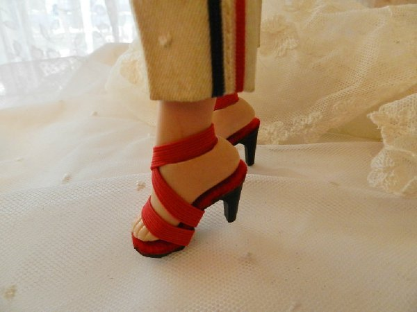 "Red Rhinestone Toe High Heel Doll Shoes for VINTAGE Elise 15.5/"" /& 16.5/"" inch"