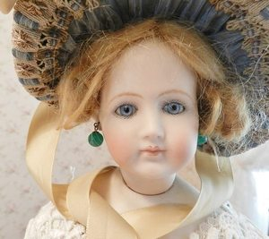 BeBe Bisque Antique Doll Jewelr Jade Green Glass~ Earrings for Jumeau French