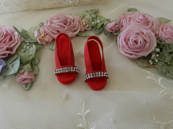 """Red Rhinestone Toe High Heel Doll Shoes for VINTAGE Elise 15.5/"""" /& 16.5/"""" inch"""