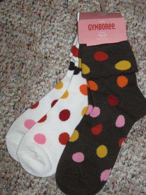 Gymboree PURRFECT Perfect AUTUMN Brown Ivory DOT SOCKS 2pk  5 7 or 8 up yr