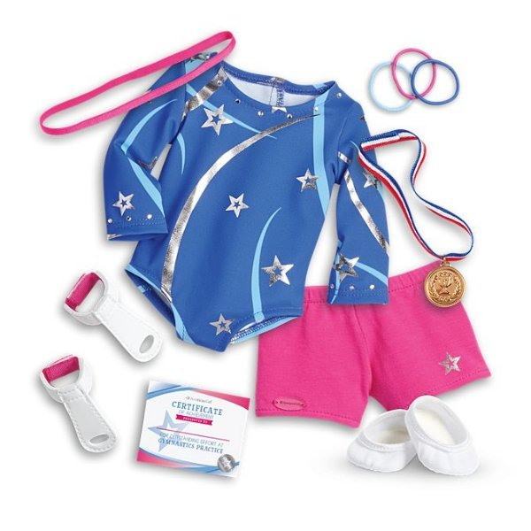 DOLL NOT INCLUDED pink blue CHARM American Girl GYMNASTICS OUTFIT for DOLLS