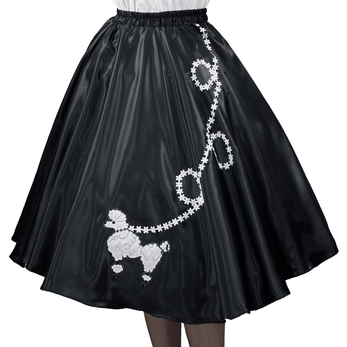 "Black SATIN 50/'s POODLE SKIRT Size X-Large  Waist 40/""-48/"" Length 25/"""