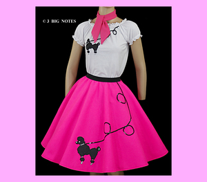 "3 Piece Pink 50/'s Poodle Skirt outfit Girl Sizes 7,8,9,10 W 20/""-26/"""