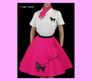 """7 PC HOT PINK 50/'s POODLE SKIRT OUTFIT ADULT SIZE MEDIUM WAIST 30/""""-37/"""" Length25/"""""""