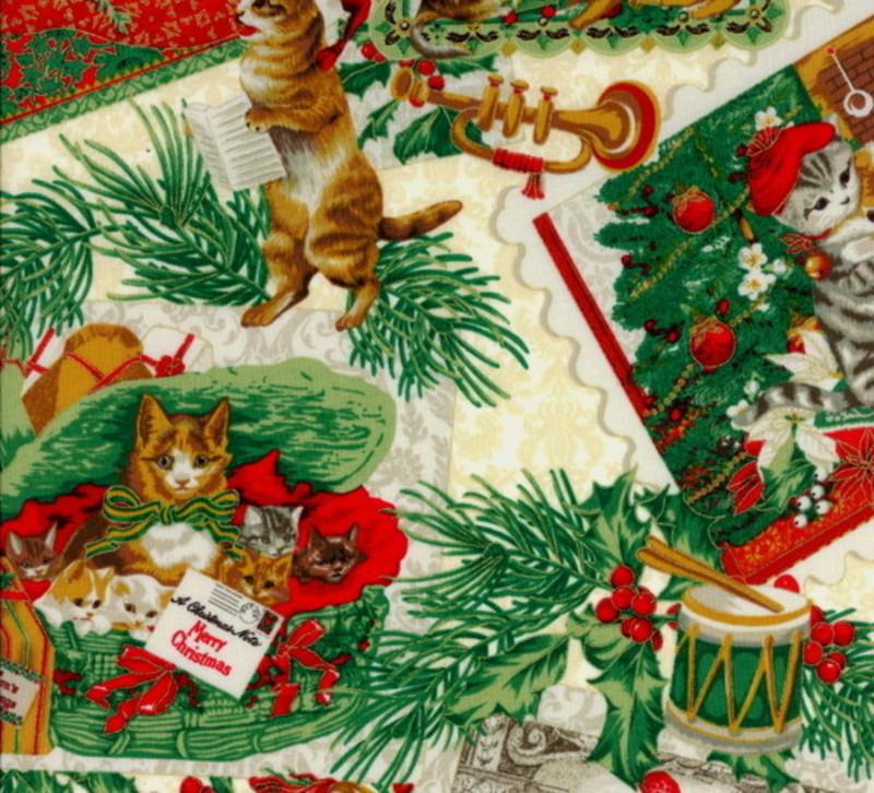 Hoffman Punch Studio Christmas Kitties J9240-33 Cream w//Gold Metallic BTY