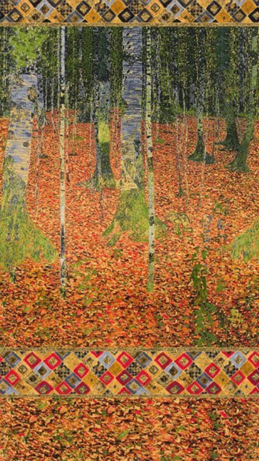 Details About Robert Kaufman Digitally Printed Fabric Panel Gustav Klimt The Birch Wood Autumn