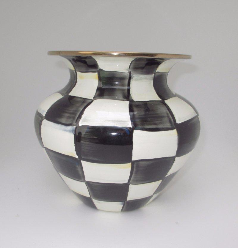 Details About Mackenzie Childs Black White Courtly Check Enamel Large Vase