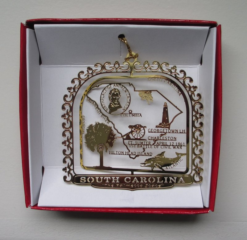 Columbia Christmas Tree: South Carolina Brass Ornament Palmetto State Travel