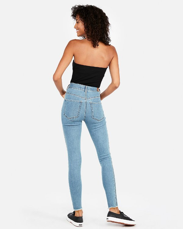 EXPRESS $98 HIGH WAISTED EMBROIDERED ANKLE JEAN LEGGINGS SZ 18 NWT