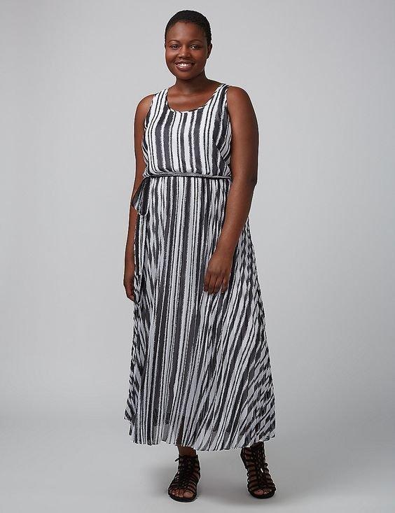 New Lane Bryant Black White Striped Maxi Dress Plus Size 28 Ebay
