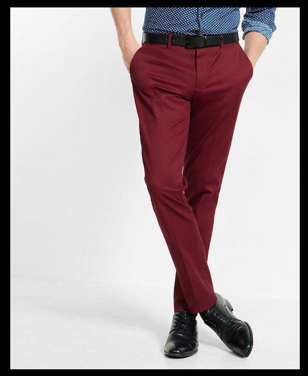 815767ac2e51 NEW EXPRESS MEN S BURGUNDY RED SKINNY INNOVATOR COTTON DRESS PANTS ...