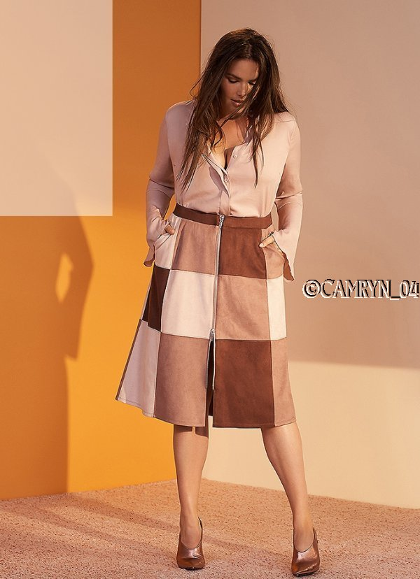 b3586fa1c Details about PRABAL GURUNG LANE BRYANT PATCHED FAUX SUEDE MIDI ZIP FRONT  SKIRT 14 ADOBE ROSE