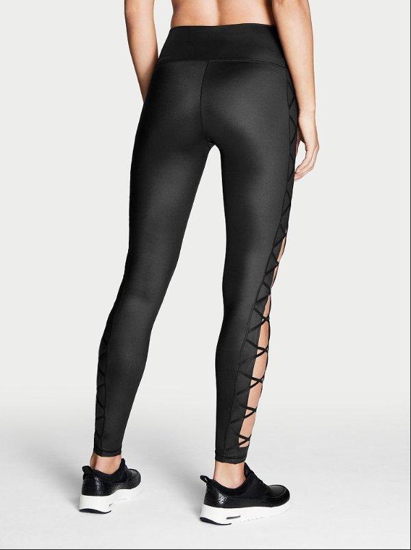 VICTORIA/'S SECRET SPORT KNOCKOUT BLACK LACE UP CORSET LEGGINGS PANTS XS REGULAR