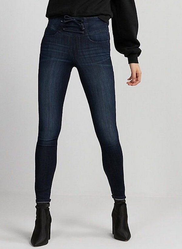5ef7f661b45 NEW EXPRESS DARK WASH HIGH WAISTED CORSET FRONT STRETCH JEAN LEGGINGS JEANS  SIZE 00R