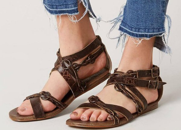 05823682281 NEW ROAN BY BED STU WOMENS BROWN RUSTIC GRETCH LEATHER STRAPPY SANDALS SHOES  9