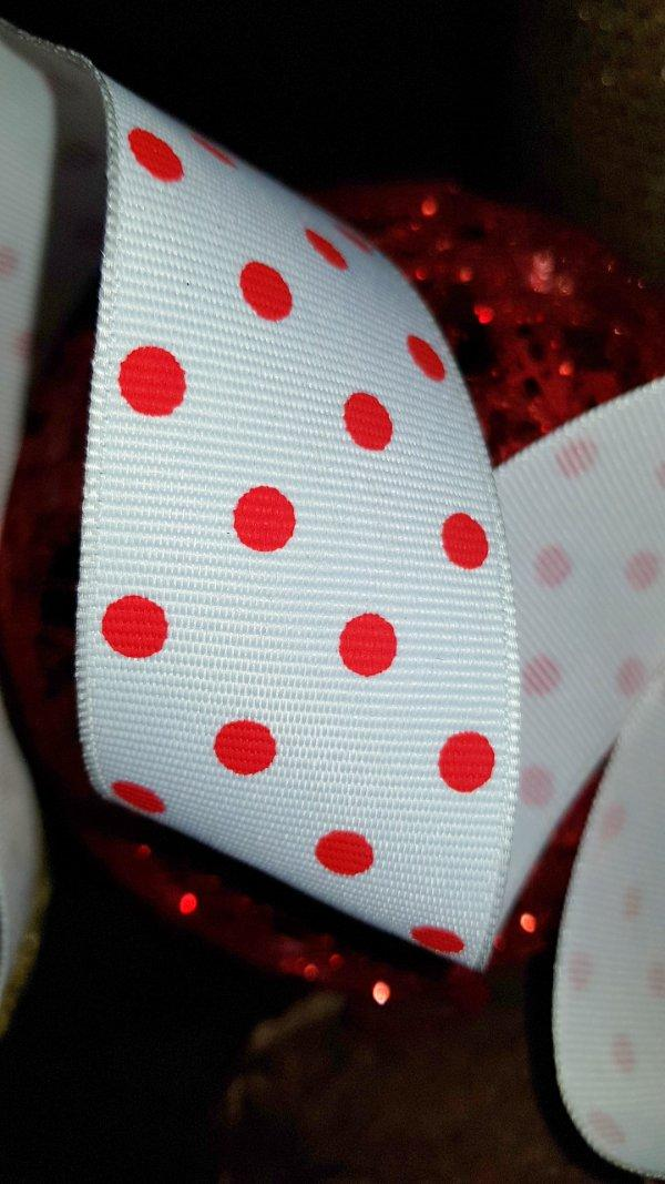 CHRISTMAS WIRE EDGED RIBBON RED POLKA DOT