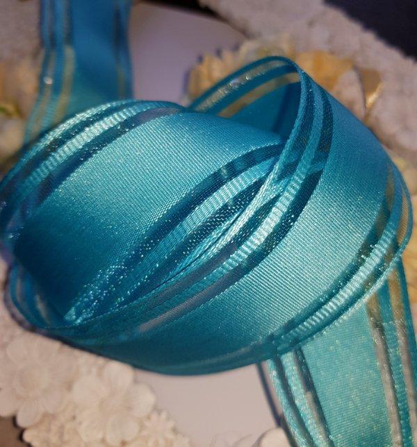 "Satin Wedding Ribbon 1.5/"" Wide Wire Edge 5 Metres Blue Organza"