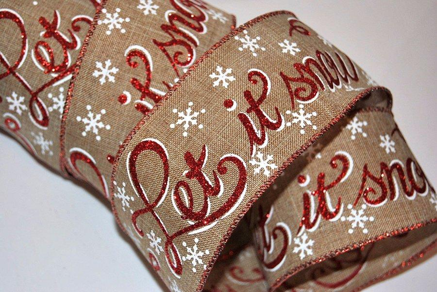 let it snowglitter wire edged wired christmas burlap ribbon 25 wide sold by the metre