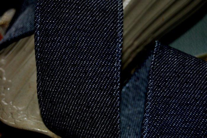 REAL DENIM JEANS  Dark Blue WIRED WIRE EDGED RIBBON  CHOICE OF WIDTHS