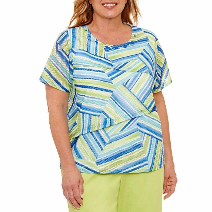 Alfred Dunner Womens Plus Size Tiered Leaves Twofer Sweater