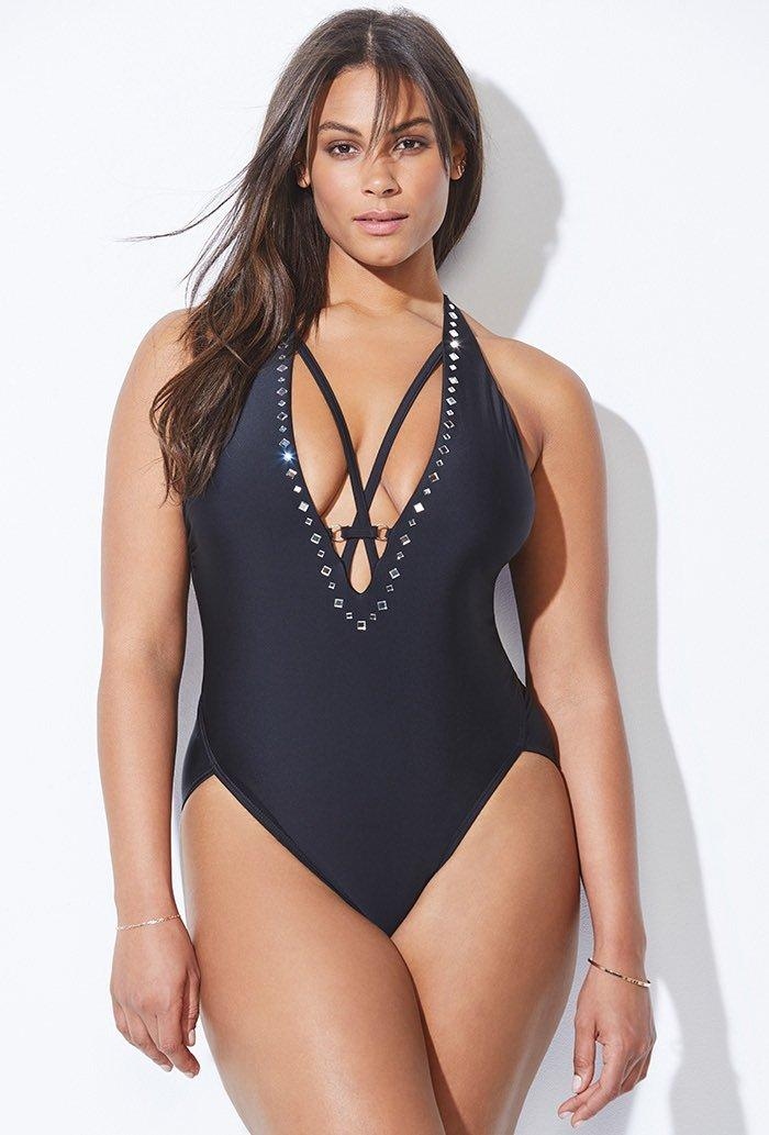 a68d719a4d844 ASHLEY GRAHAM® 8 Black Flapper Swimsuit NWT $120   eBay