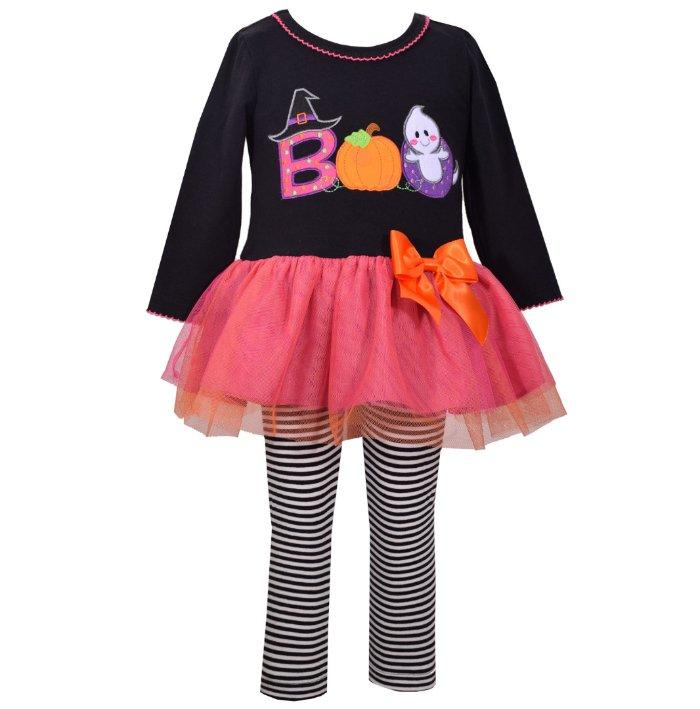 Bonnie Jean Girls Pink Holiday Animal Print Top Skirt Legging Set 12M 18M 24M