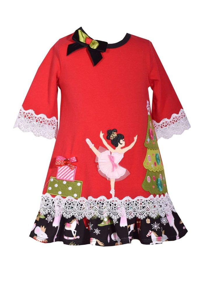 Girls Size 24M Bonnie Jean Christmas Striped Solid Reindeer Appliqued Dress NWT