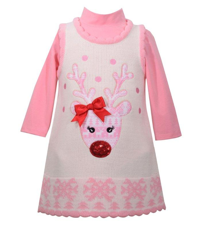 26db022a40b Details about BONNIE JEAN BABY Girls 18M Holiday Reindeer 2-Piece Sweater  Dress NWT  58