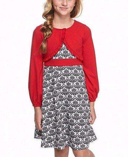 BONNIE JEAN Girls 7 16 Red Damask Print Holiday Cardigan Dress NWT $62