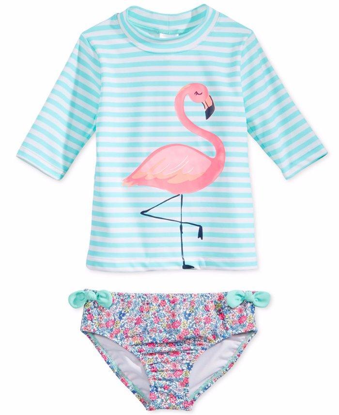 65d720412 CARTER'S® Girls' 4, 6X Flamingo 2-Pc. Rashguard Swim Set NWT | eBay