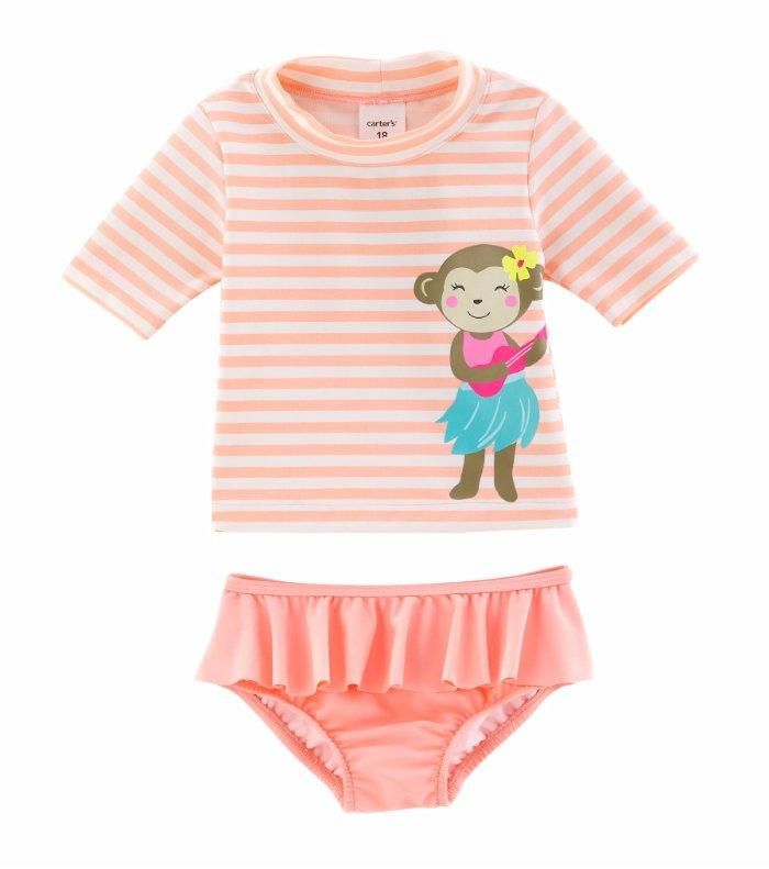 3304f7ea7 CARTER'S Baby Girls' 12M, 18M Monkey Rashguard 2-Piece Swim Set NWT ...
