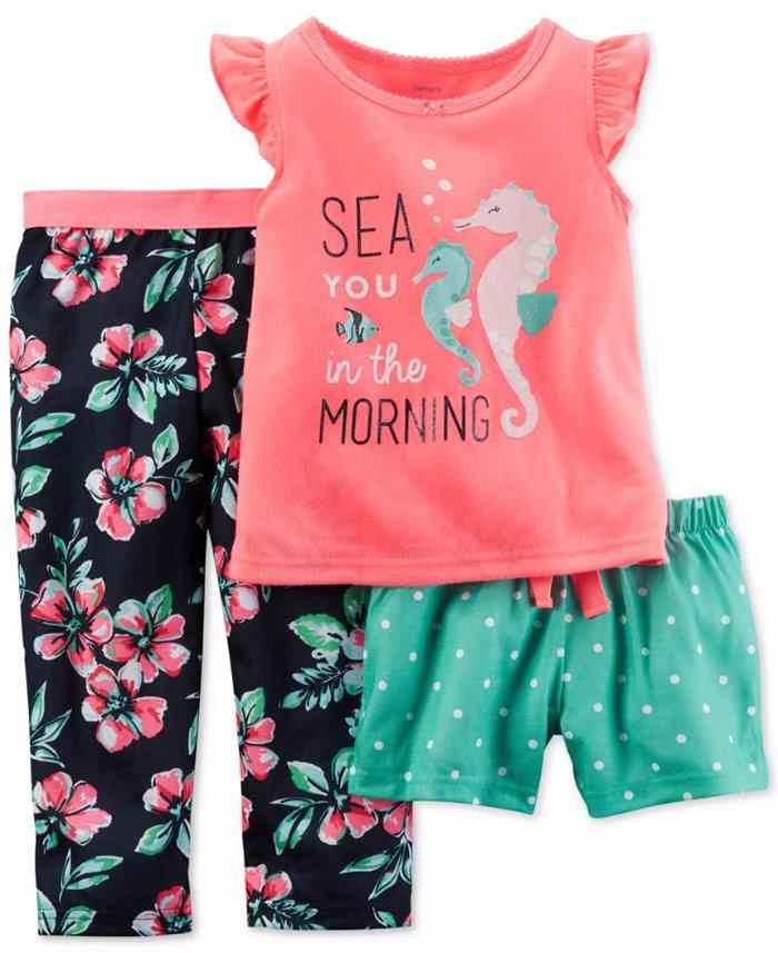 6aa9fc951 CARTER S Girls  18M-2T  Sea You In The Morning  3 Pc. Pajama Set NWT ...