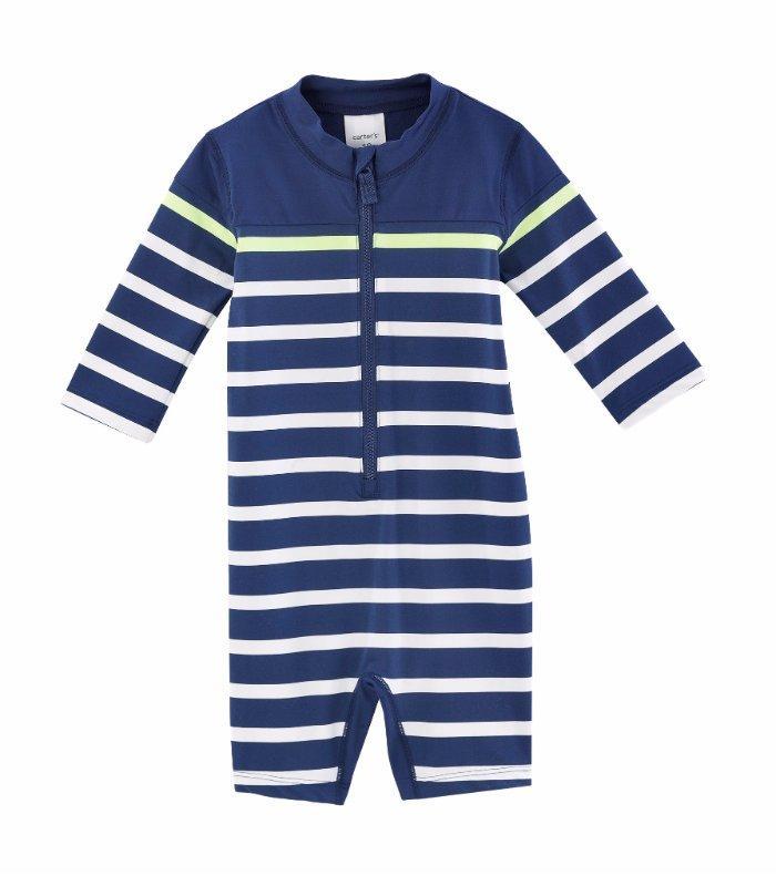 97ad08fbef CARTER'S® Baby Boys 6-9M Navy Striped One-Piece Rashguard Swimsuit NWT