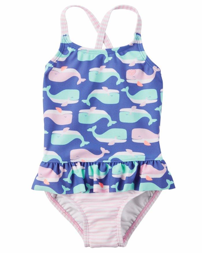 f50abe7ab Details about CARTER'S Baby Girl 6-9M Whale Print 1-Piece Swimsuit NWT