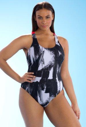 246a087913595 ASHLEY GRAHAM 10, 12 Black & White Brushstroke Samurai Swimsuit NWT ...