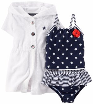 6f1e117e16872 CARTER'S® Baby Girl's 12M 3-pc. July 4th Tankini Swimsuit & Cover-up Set NWT