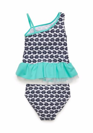 Fish Applique Flapdoodles Girls Tankini Swim Set