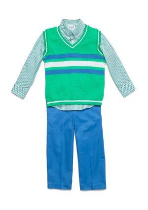 Toddler Boys IZOD $50 3pc Light Blue /& Yellow Sweater Vest Set Size 2T 4T