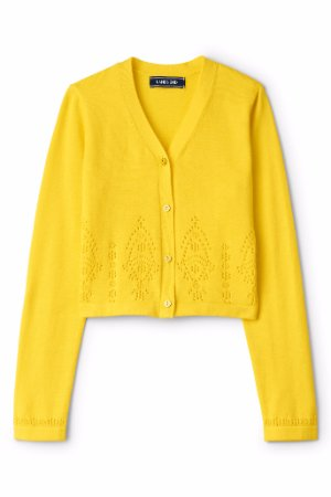 49e48d9c5 LANDS  END Girl s L(14) Broderie Anglaise V-Neck Sophie Cardigan NWT ...