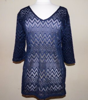 80210e36e0d72 J VALDI® Navy Blue Crochet Chevron Lace Swim Tunic Cover-up