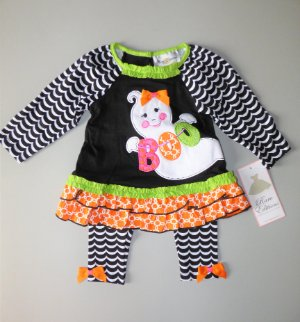 RARE EDITIONS® Girls/' 2T Halloween BOO Ghost Top /& Leggings Set NWT $48
